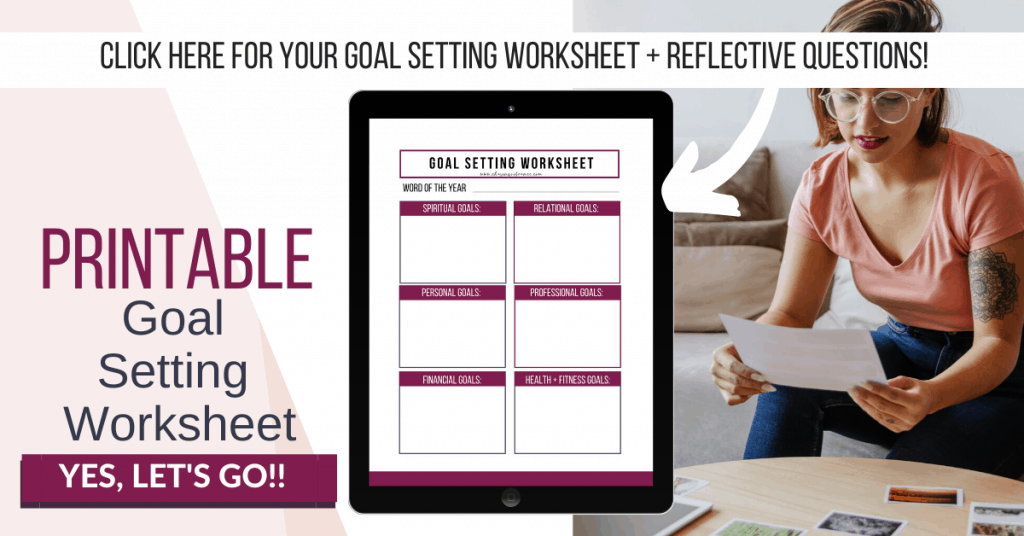 Printable goal setting worksheet sign up graphic with woman writing and large ipad