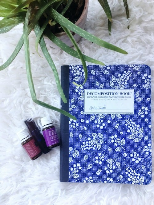 Journal with essential oils and plant