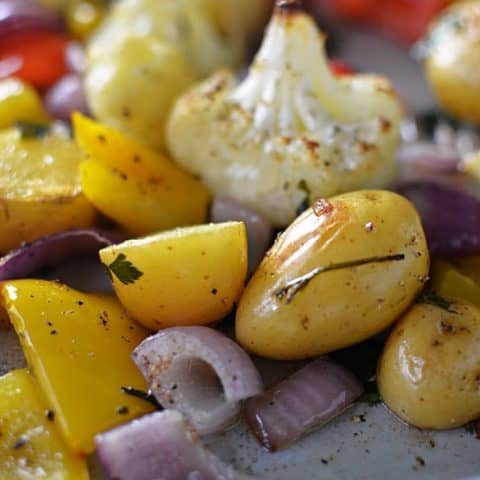 Close up of Italian Herb Roasted Vegetables