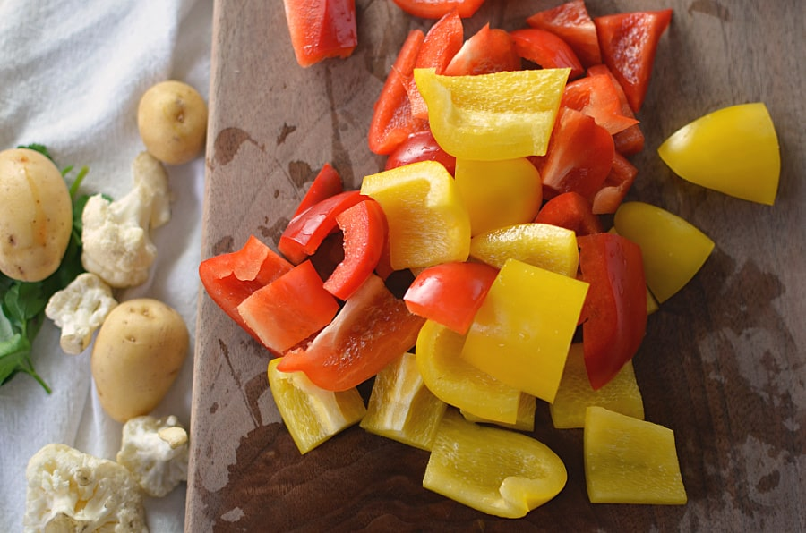 chopped red and yellow peppers