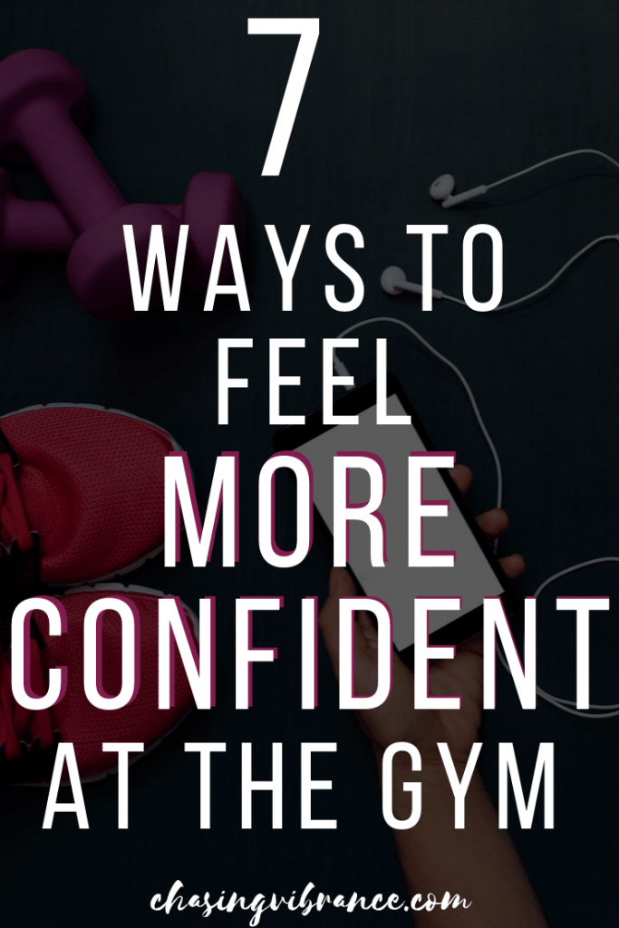 "Large text ""7 Ways to feel more confident at the gym"" over dark photo of sneakers, weights, headphones"