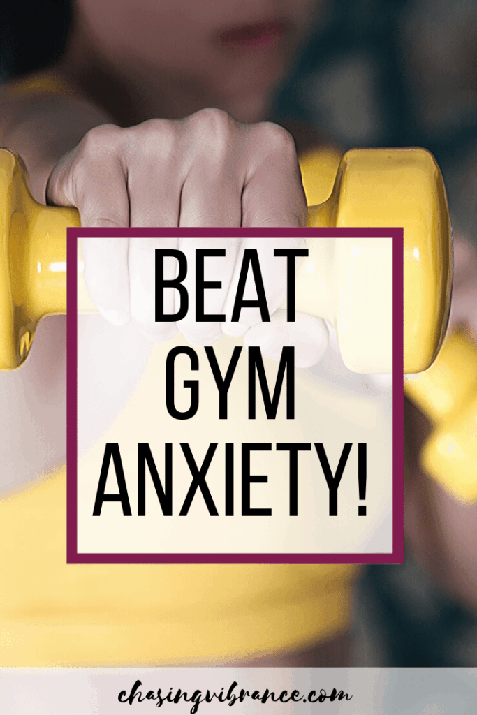 Girl punching with yellow weight. Text overlay : Beat Gym Anxiety!
