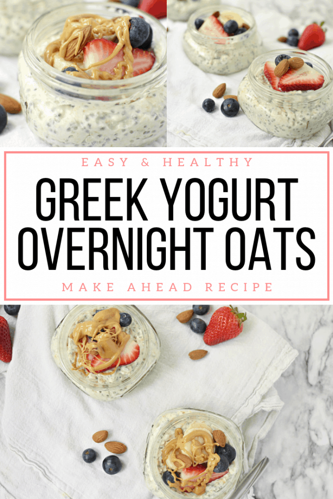 Collage of greek yogurt overnight oats with text for pinterest