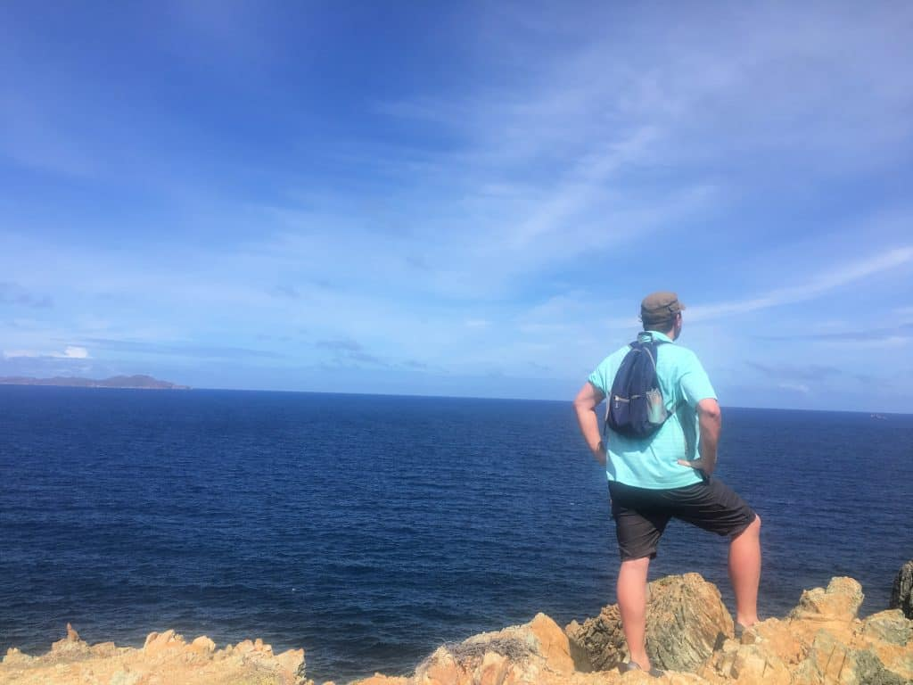 Man hiking on st John USVI