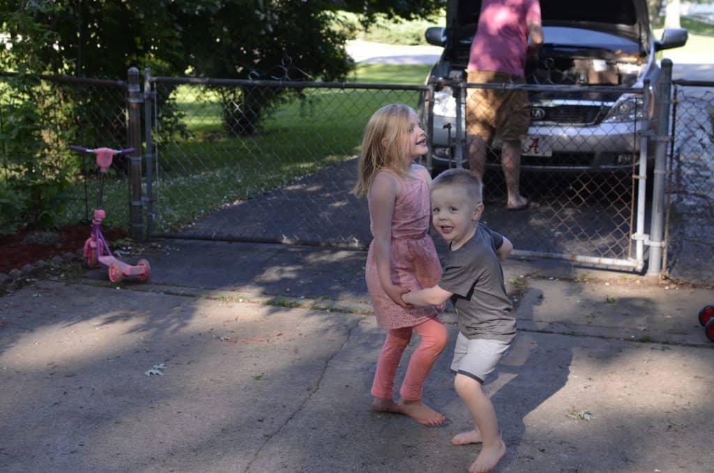 kids in the backyard