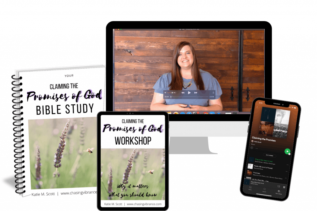 Mockup of claiming the promises of God Bible study with devotional, music, and teaching