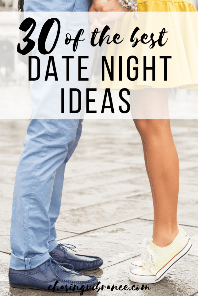couples feet together with text 30 of the best date night ideas