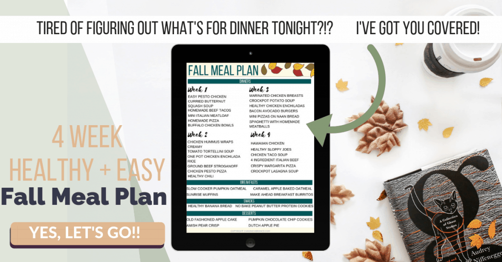 ipad with healthy fall meal plan on fall flatlay background with coffee cup and cat book