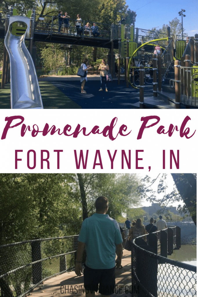 photo of playground and man walking with text promenade park fort wayne, in
