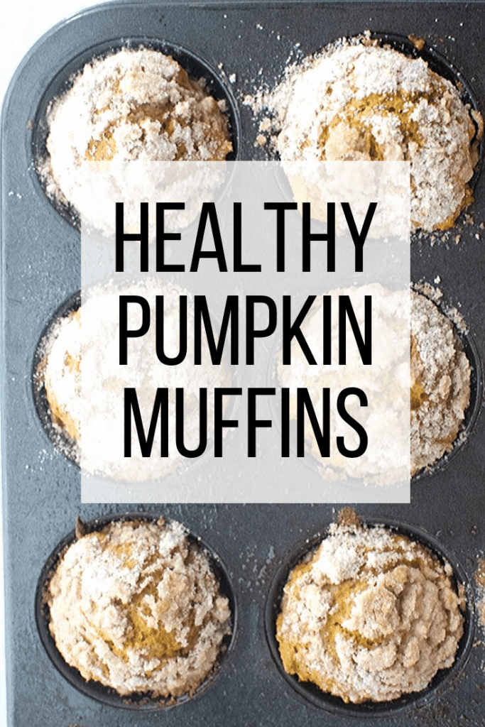 Healthy Pumpkin Muffins text overlay on top of pumpkin muffins in muffin tin