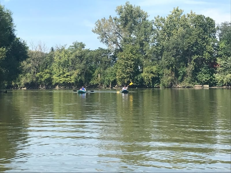 kayaking with children at riverfront fort wayne