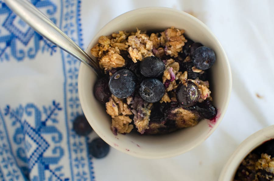 Small bowl on blueberries and oatmeal
