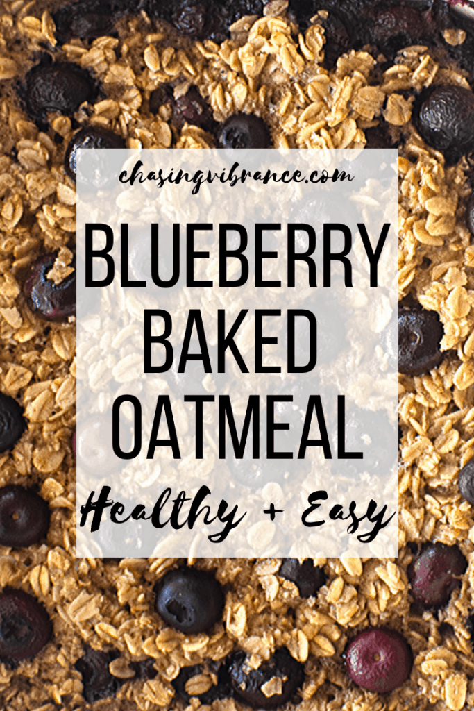 Easy and Healthy Blueberry Baked Oatmeal text overlay on baked oats