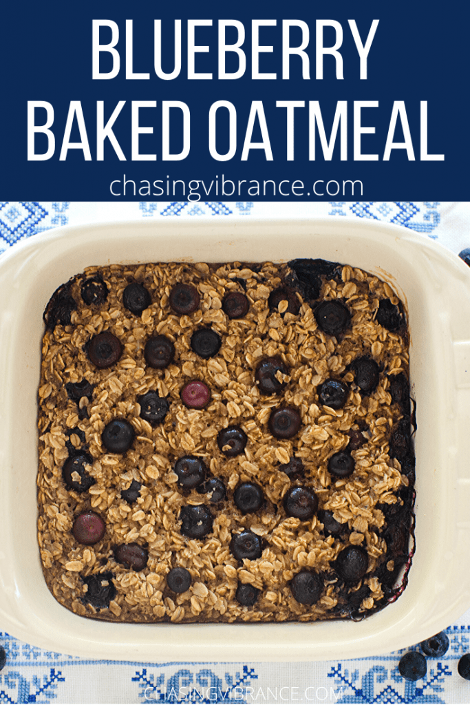 Blueberry Baked Oatmeal text on blue background with overhead shot of healthy baked oatmeal