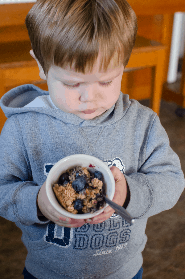 Little boy in gray sweatshirt holding cup of blueberry baked oatmeal
