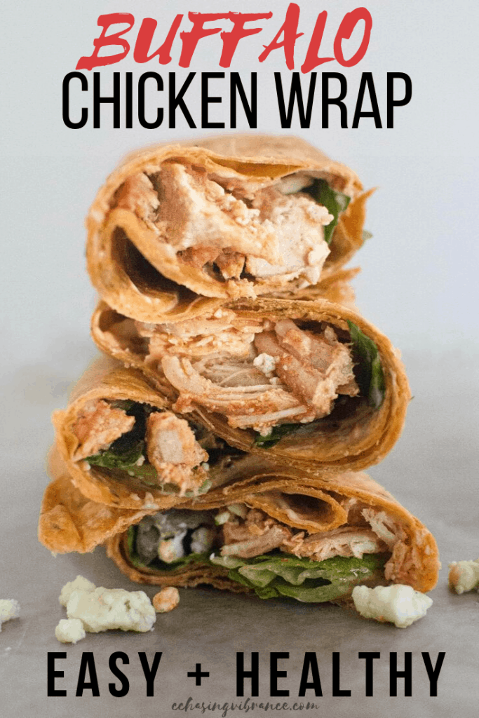 Large photo of stack of buffalo chicken wraps with large text