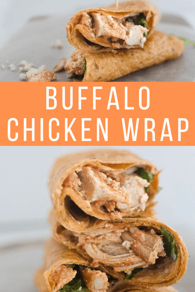 Buffalo Chicken Wrap in orange text between photos of wraps