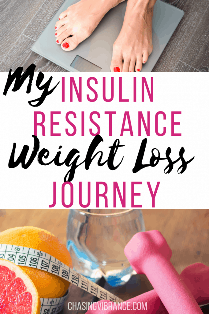"womans feet on scale and random fitness supplies with text my insulin resistance weight loss journey"" collage"