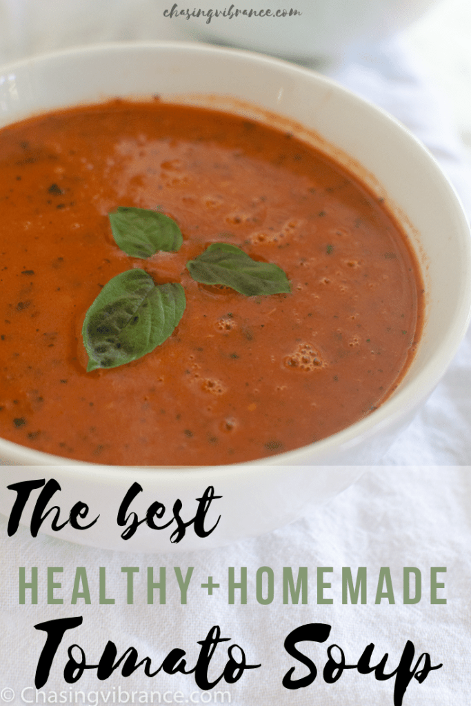 The best healthy and homemade tomato soup with white bowl filled with tomato soup