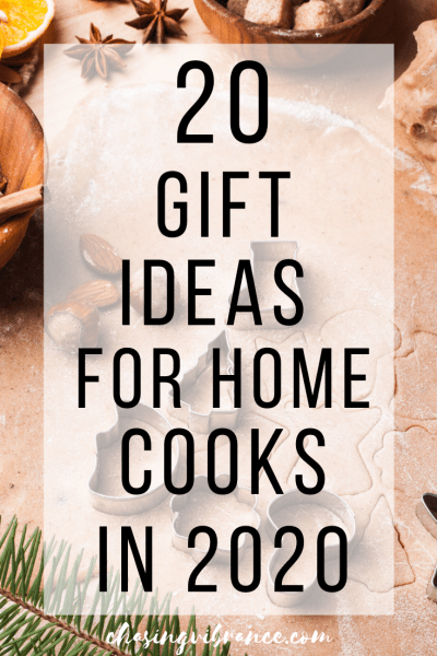 20 Gift Ideas for Home Cooks text on baking background