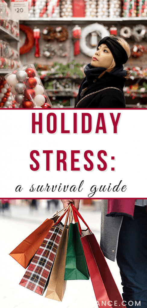 Holiday stress: a survival guide for busy moms photo collage of moms shopping at Christmas