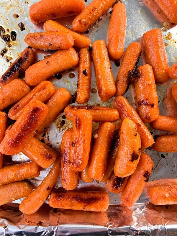 Honey roasted carrots on a sheet pan
