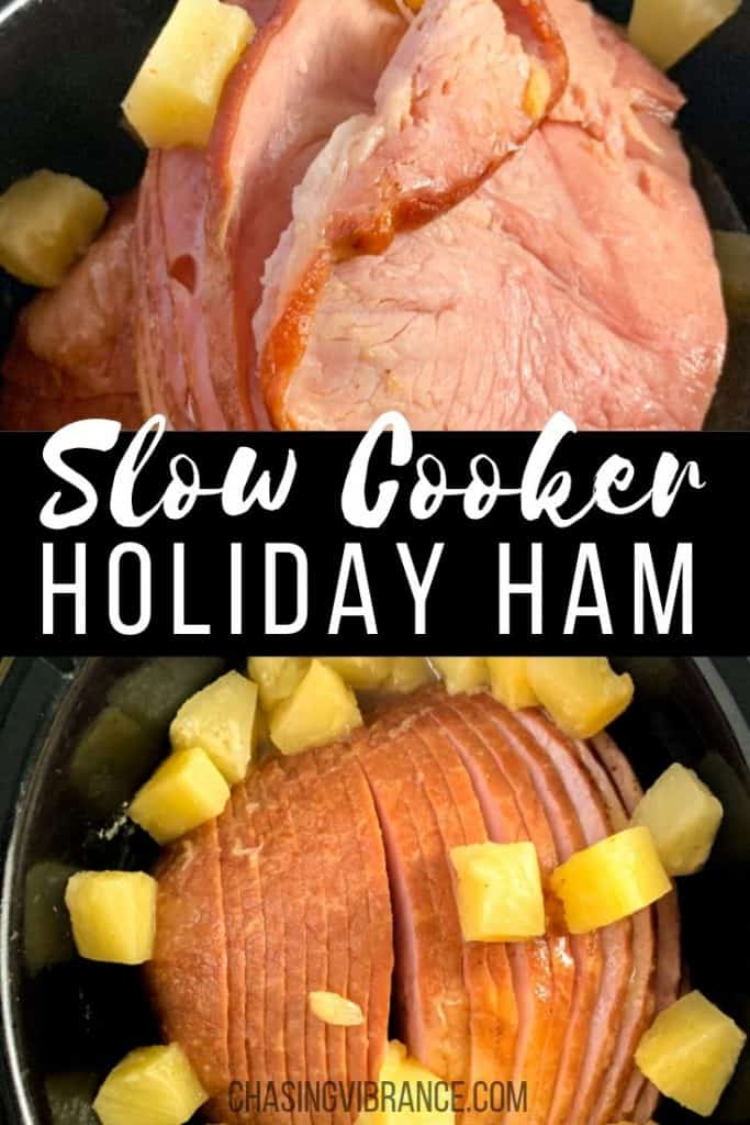 Slow Cooker Holiday Ham text with ham in crockpot photos