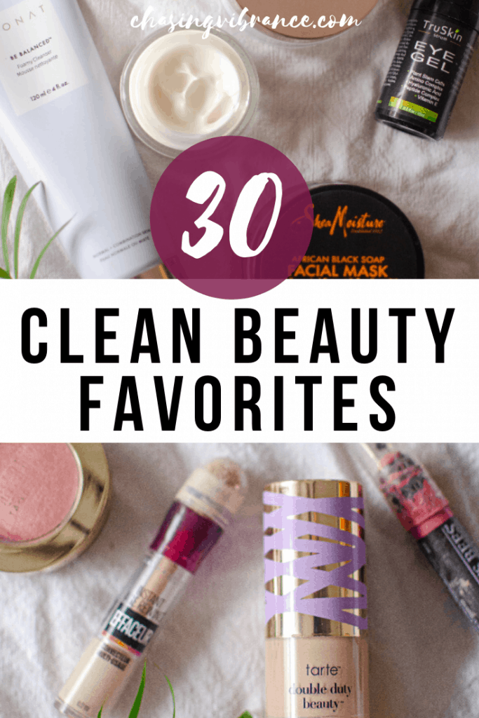 30 Clean beauty favorites overlaid over miscellaneous green beauty products on white cloth background