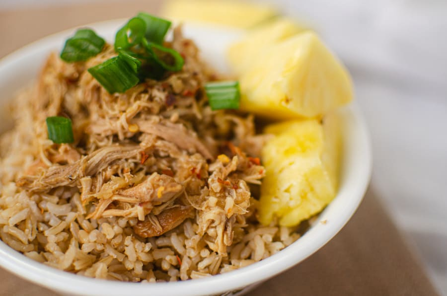 Close up of crock pot Hawaiian chicken bowl