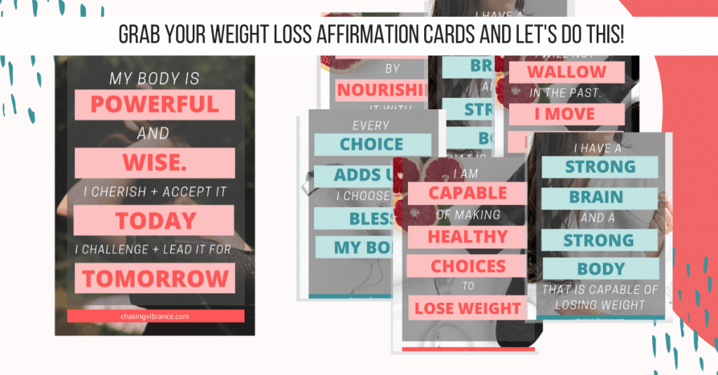 Printable weight loss affirmations with pink and teal color scheme.