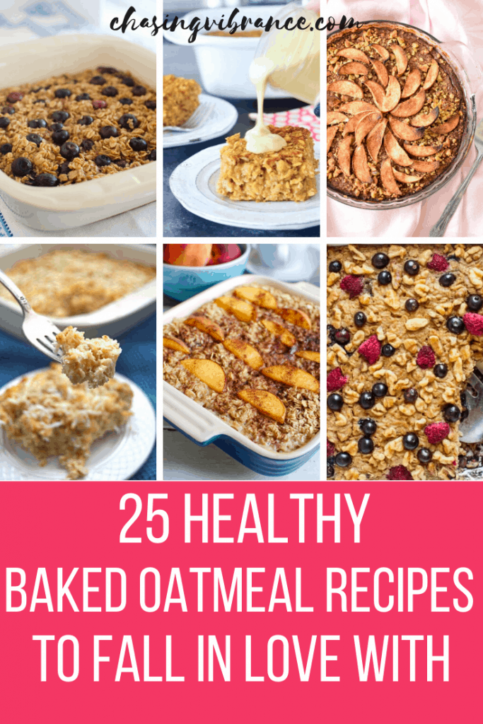collage of healthy baked oatmeal recipes with text overlay