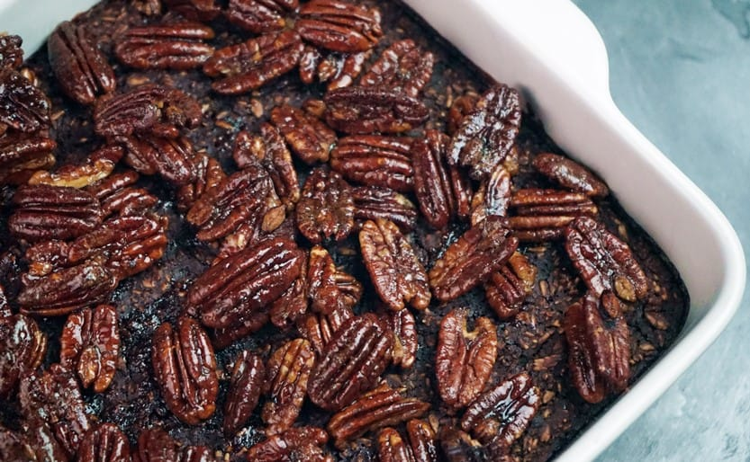 Close up of Chocolate pecan healthy baked oatmeal recipe