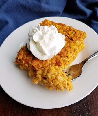 piece of pumpkin pie baked oatmeal