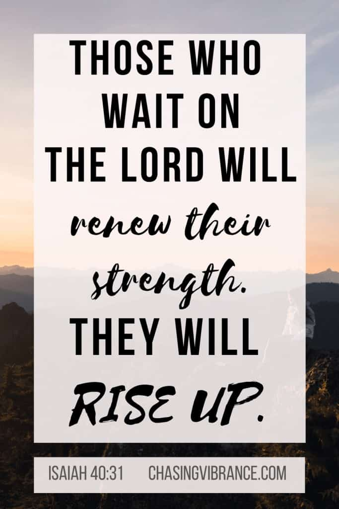 """text """"those who wait on the lord will renew their strength they will rise up"""" Isaiah 40:31 on sunset overlay"""