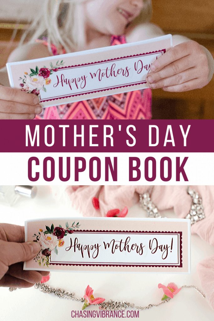Collage of mother's day coupon book from kids