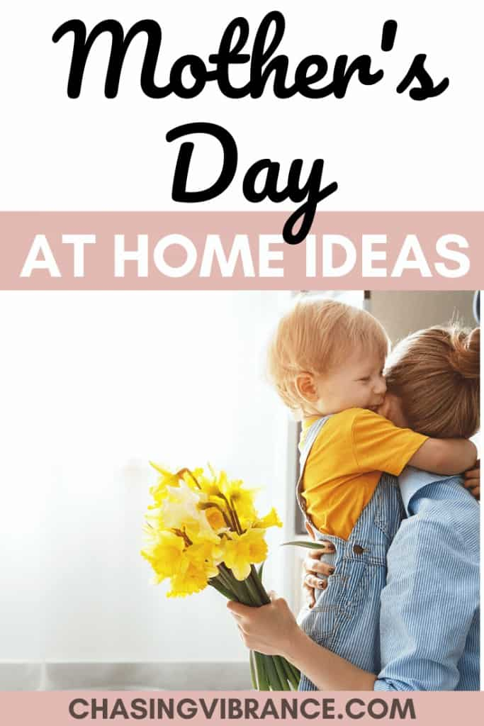 Women hugging child with mother's day at home ideas text