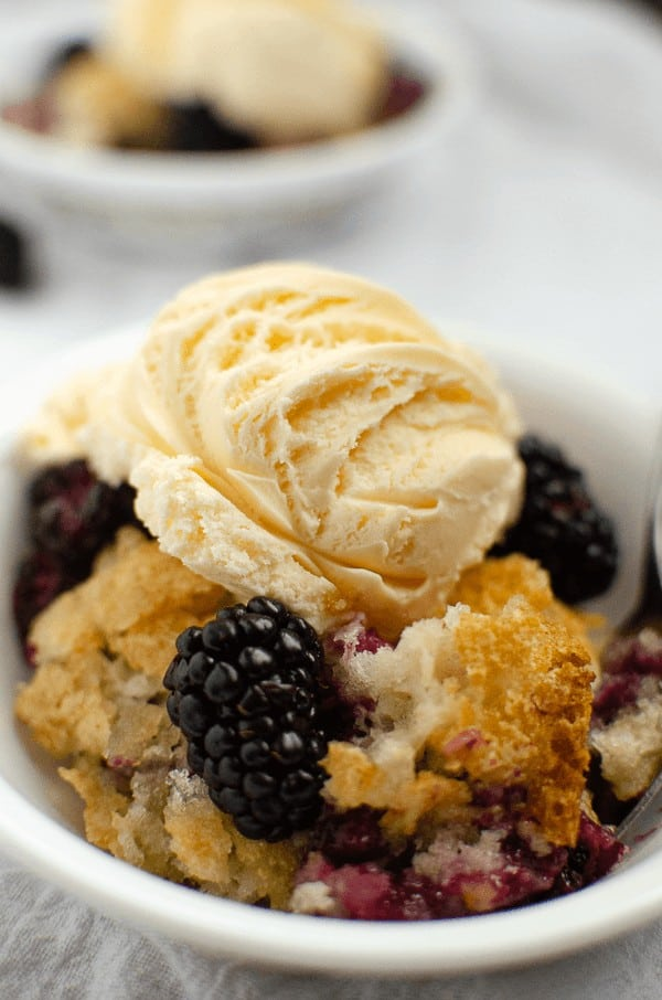 Blackberry cobbler close up in dish