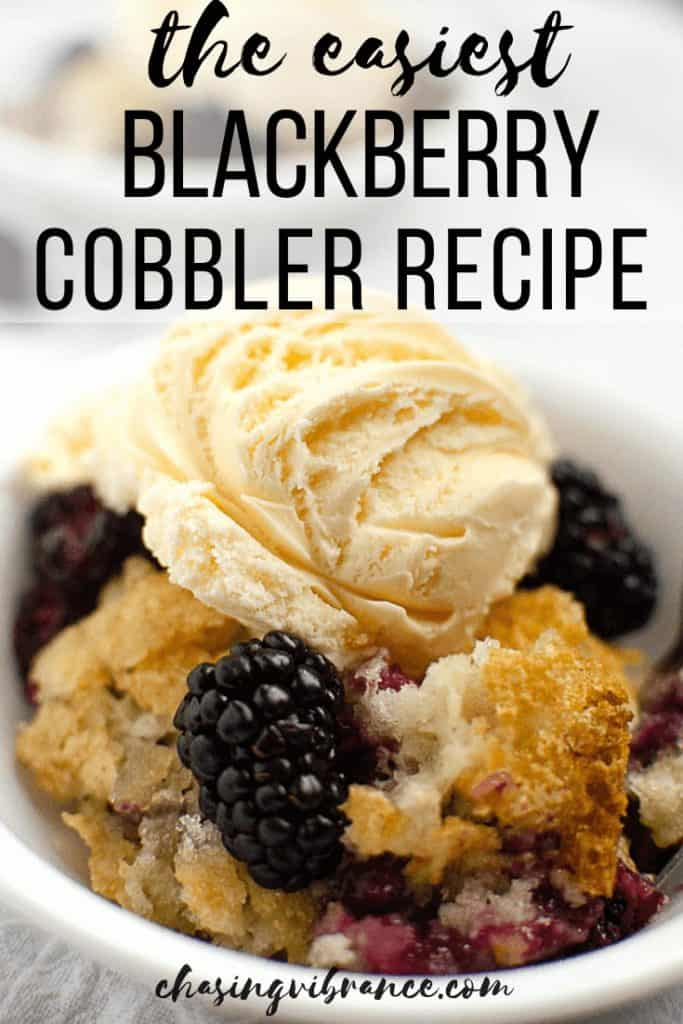 cobbler recipe with text overlay 'the easiest blackberry cobbler recipe""