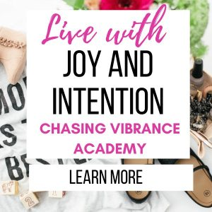 """LIVE WITH JOY AND INTENTION CHASING VIBRANCE ACADEMY TEXT OVERLAY ON COLLAGE OF BABY SHOES, NAIL POLISH AND WHITE TSHIRT"