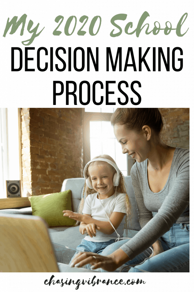 mom smiling at daughter using headphones for elearning with text my 2020 school decision making process
