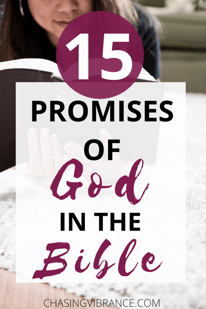 15 promises of God in the Bible with woman reading Bible in background