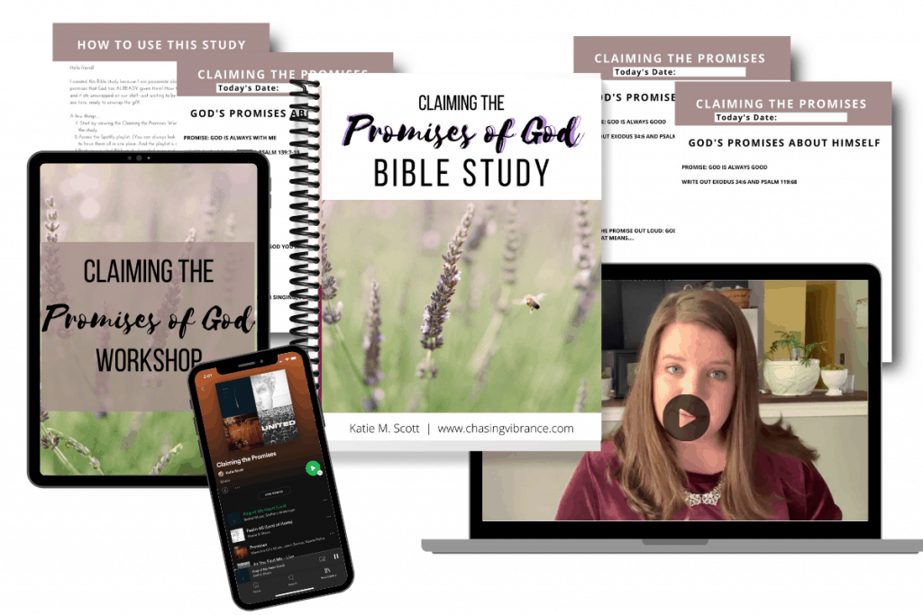 Bible study with computer, iphone with playlist, Bible study promises of God pages