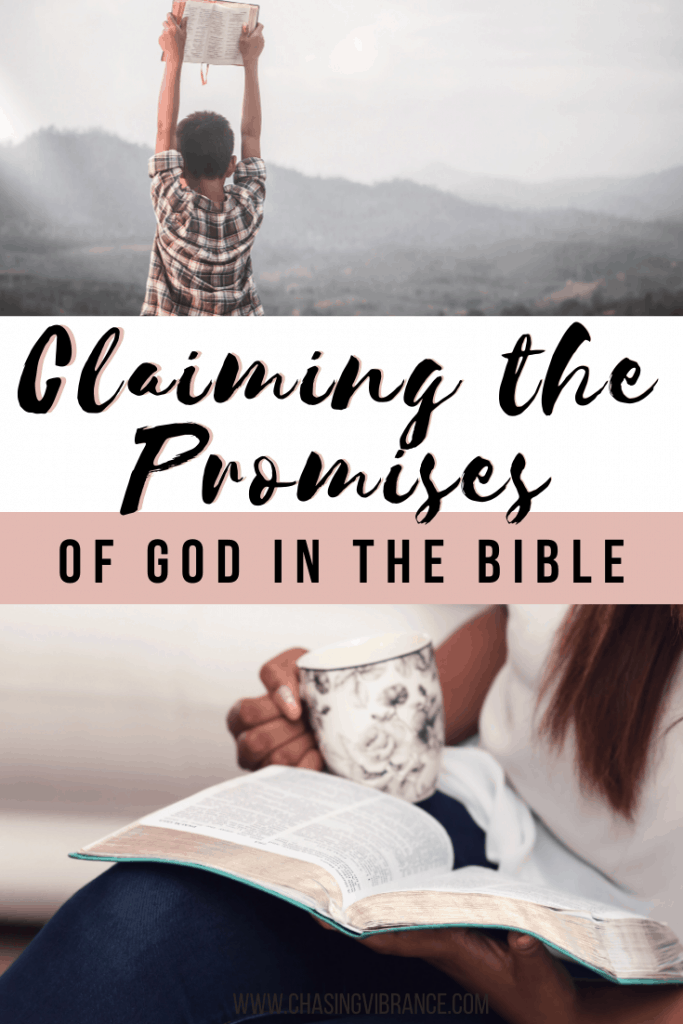 Claiming the promises of God collage with boy holding Bible up in mountains and woman reading Bible with tea.
