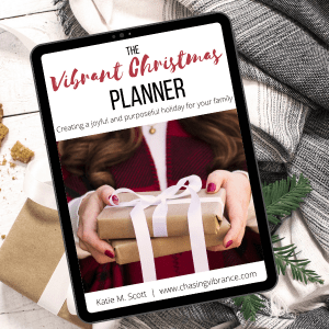 Vibrant Christmas planner laying on blanket and greenery