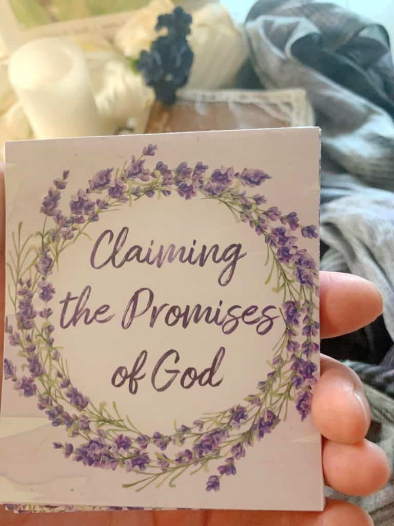 promises of God verse cards up close in my hand