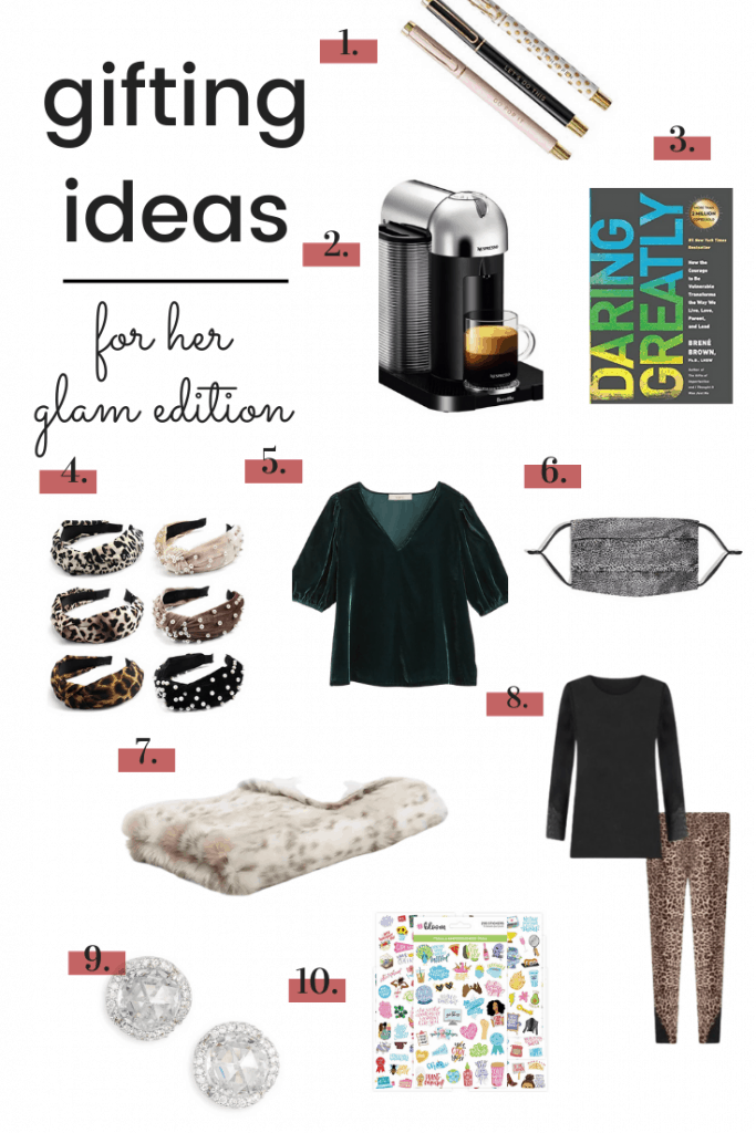 gift guide collage of glam gifts for her-small product images