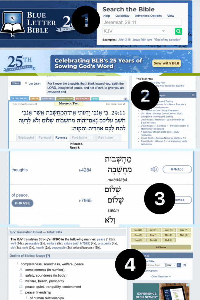 collage of steps to using free online bible study tool Blue Letter Bible