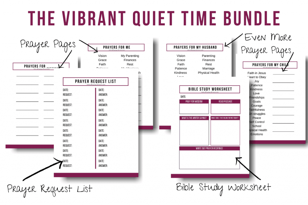 The Vibrant Life Quiet Time Bundle with printable bible study worksheet and printable prayer journal