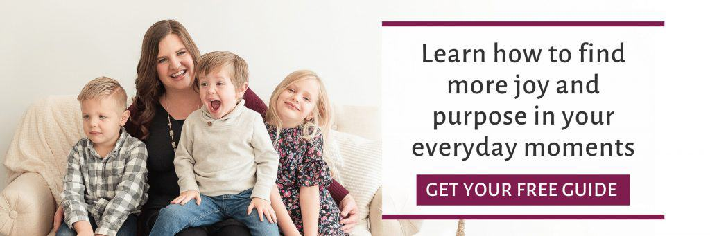 mom and kids looking happy with text learn to find more joy and purpose in the everyday moments