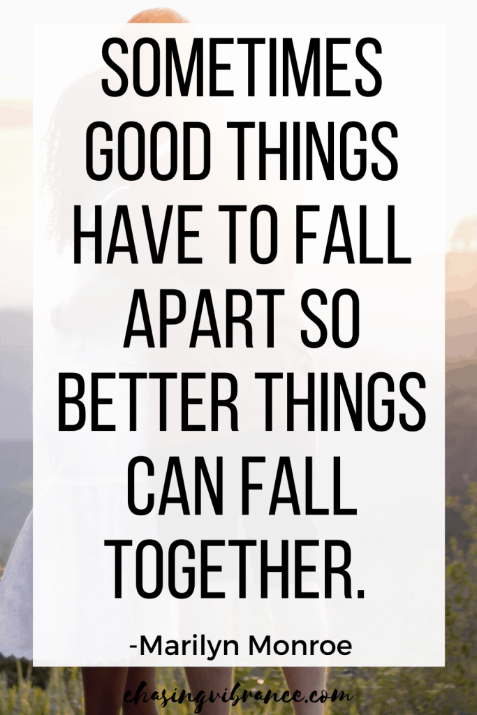 sometimes good things have to fall apart quote with text overlay of couple dancing